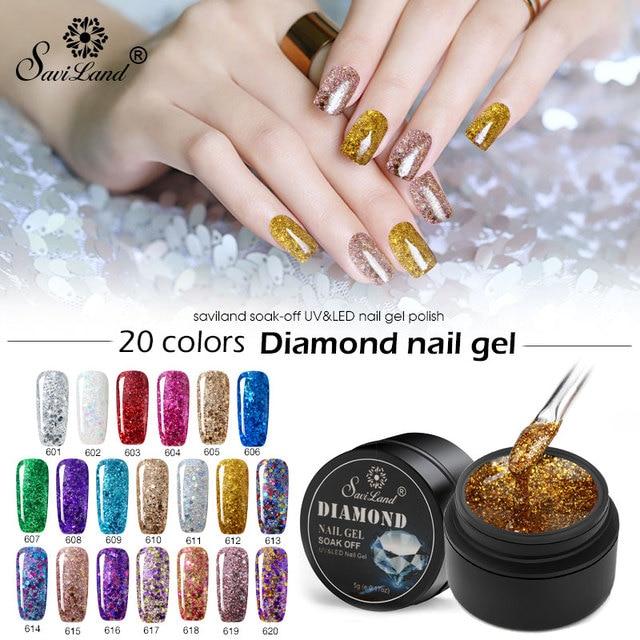 Saviland Gel Paint Hybrid Diamond Glitter Gel Nail Polish UV Nail ...