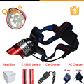 8000LM LED Headlamp CREE XML T6 3 Modes Rechargeable Headlight Head Lamp Spotlight For Fishing+Charger(US EU UK)+2 PCS 18650