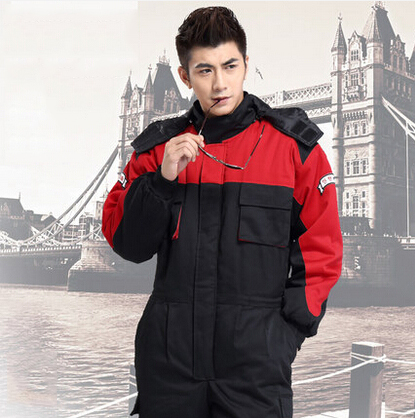 FREE SHIPPING  one piece worker winter thick warm uniform waterproof jacket mechanic winter uniform engineer
