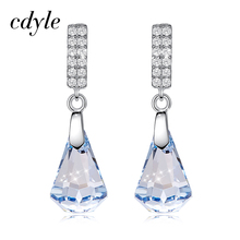 Cdyle 925 Sterling Silver Earrings Embellished with crystal Drop Earrings Jewelry Earrings Geometric Earrings