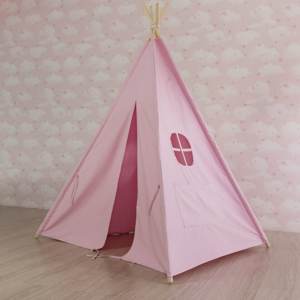 Plain Pink Teepee Tent for Sale Canvas Teepee Tent Childrens Tipi Tent pink clouds teepee tent indoor childrens play tipi