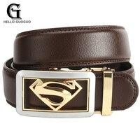 Hello Guoguo Belts For Men Superhero Modeling Designers Automatic Buckle Leather Luxury Belts Business Male Cummerbunds