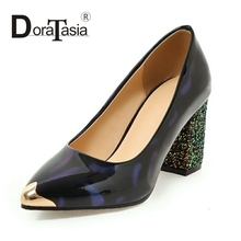 DoraTasia 2017 Big Size Glitter Bling High Heel Shoes Pumps Sexy Platform Pumps Women Black Green Purple Sequined Toe Shoes