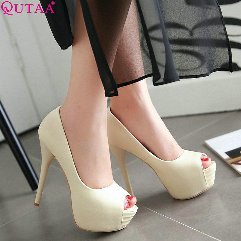 QUTAA 2020 Sexy Women Pumps Women Shoes Slip On Sexy Peep Toe Platform Super Thin High Heel Ladies Wedding Pumps Size 34-43