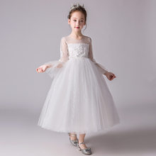 7b007f9bd1b4d Romantik Beyaz Uzun Kollu Prenses Çiçek Küçük Kız Elbise çocuk Gençler  Akşam Pageant Tatil Parti Elbise Performans Göster