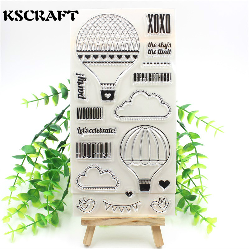 Hot Air Balloon Transparent Clear Silicone Stamp/Seal for DIY scrapbooking/photo album Decorative clear stamp sheets 6 5ft diameter inflatable beach ball helium balloon for advertisement