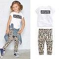 girl short sleeve T-shirt + leggings clothing cotton children's leisure clothing baby girl summer clothes
