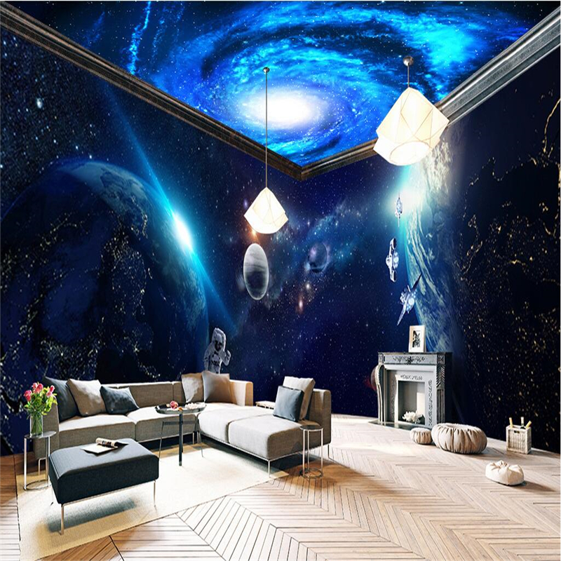 Beibehang space planet whole house background 3d mural for 3d wallpaper bedroom ideas