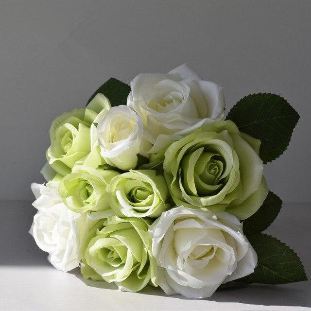 12Heads Silk Rose Artificial Flower Bouquet Small Hold Flower for ...