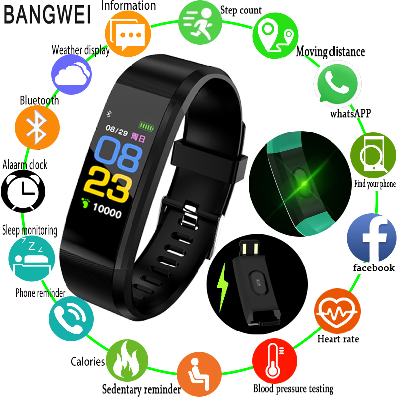 BANGWEI 2018 New Smart Sports Watch Heart Rate Sleep Monitoring Fitnes Watch Supports USB Charging OLED Color Smart Watch