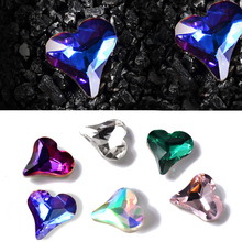 10pcs 6 Colors Heart Nail Rhinestones For Nails Art Decorations Crystal Glass Stone