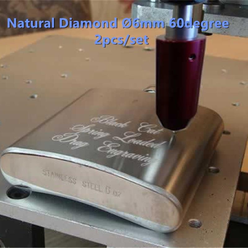 حمل و نقل رایگان Talentool 2 قطعه / مجموعه بیت حکاکی فلزی طبیعی با 60 درجه دیا 6 میلی متر برای سنگ شیشه فلزی