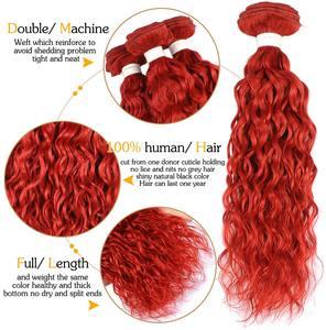 Image 3 - ברזילאי מים גל אדום חבילות עם סגירת בורדו אדום שיער טבעי Weave צבעוני חבילות עם סגירת 99J PINSHAIR רמי שיער