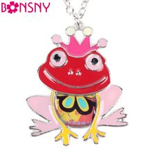 Bonsny Maxi Statement Metal Alloy Frog Animal Choker Necklace Chain Collar Pendant Fashion New Enamel Jewelry For Women(China)
