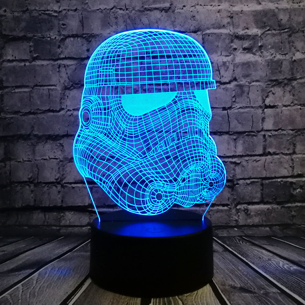 3D noční světlo RC Star Wars Klonová síla Darth White Vader Knight Warrior Figur Toy Toy Illusion LED USB Lamp Gradient Birthday Gift