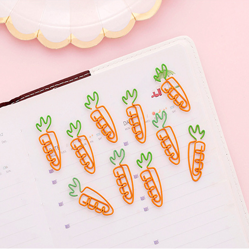 5pcs/Lot Carrot Shape Paper Clip Bookmark Pin Stationery School Office Supply