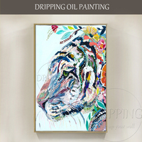 Beautiful Wall Art Artist Hand painted Modern Rich Colors Tiger Oil Painting Funny Tiger with Flower Oil Painting for Wall Decor