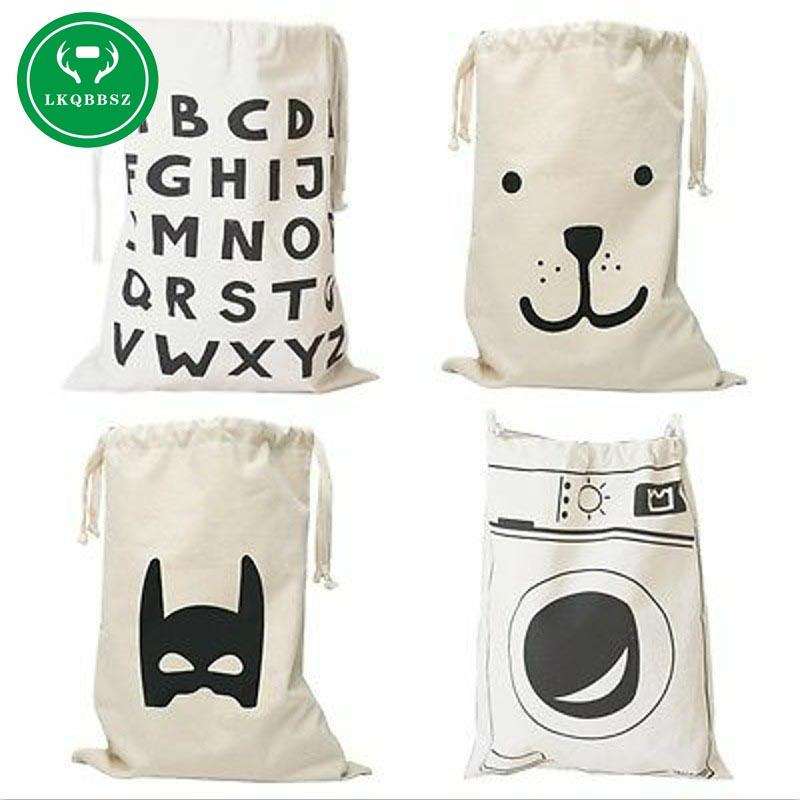 Extra Large Cotton Canvas Laundry Bag Canvas Storage Bag For Toys Cloth Bear Washing Machine Batman Letters 8 Patterns(China)