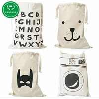 Extra grande de lona de algodón bolsa de lona bolsa de almacenamiento para los juguetes de oso máquina de lavado de Batman cartas 8 patrones