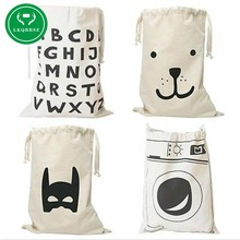 ФОТО   Extra large Cotton Canvas Laundry bag Canvas Storage Bag for Toys Cloth Bear Washing machine Batman Letters 6 patterns