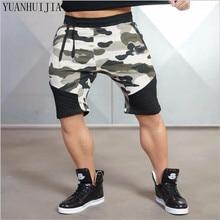 Мужчины Камуфляж тренажерные залы шорты бодибилдинг колена длина брюки повседневные штаны модный бренд бегун короткие штаны