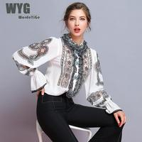 Top Quality Women Embroidery Blouse 2019 Spring Retro Floral Embroided See Through Mesh Long Sleeve Elegant Silk Blouses Shirts