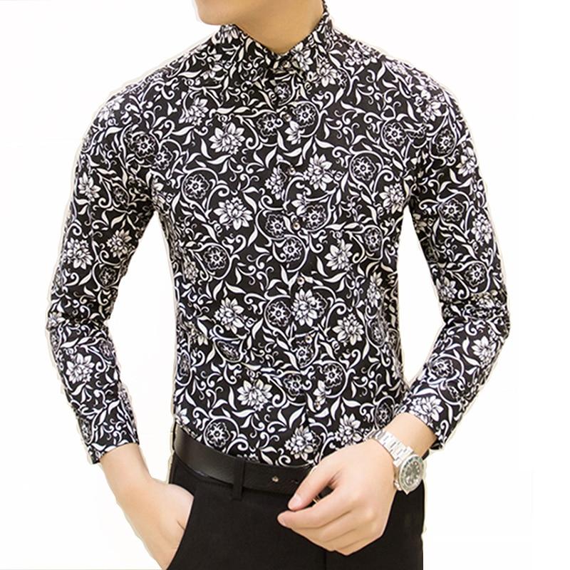Uus kevadel meeste vabaaja särgid moe pikkade varrukatega trükitud särk meeste ärirõivaste meeste kleitide jaoks Camisa Masculina