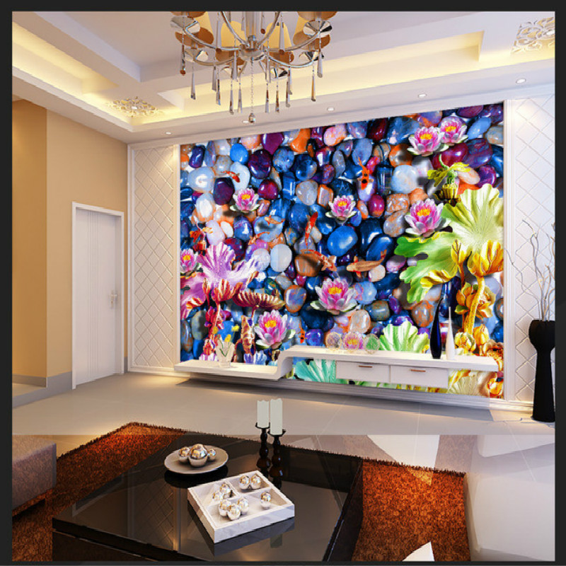 Pebbles carved lotus design of large living room bedroom wall painting mural 3D wallpaper TV backdrop stereoscopic 3D wallpaper large custom 3d wallpaper mural 3d wallpaper 3d stereoscopic rose pink flowers living room bedroom tv backdrop box