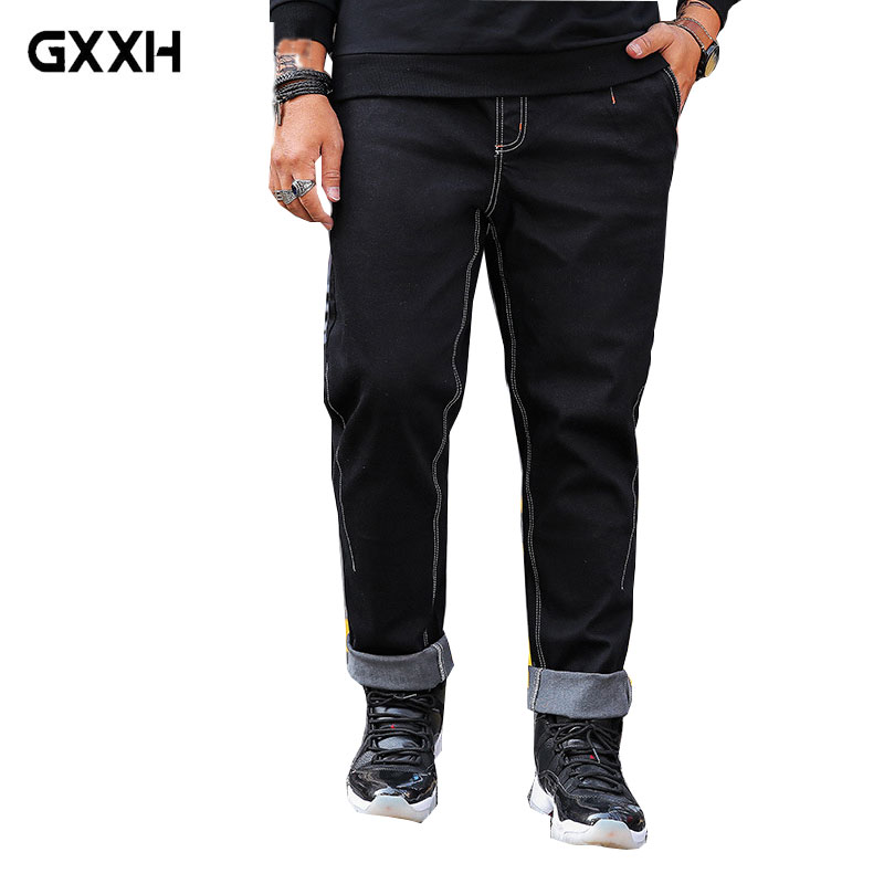 GxxH Large size Mens pants increase Fertilizer Stretch jeans Autumn Loose Waist Straight Casual trousers Size XXL-4XL 5XL 6XL
