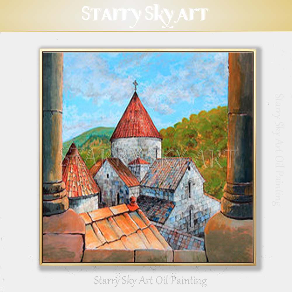 Artist Hand-painted High Quality Armenia Building Oil Painting on Canvas Beautiful Armenia Castle Oil Painting for Decoration metalowe skrzydła dekoracyjne na ścianę