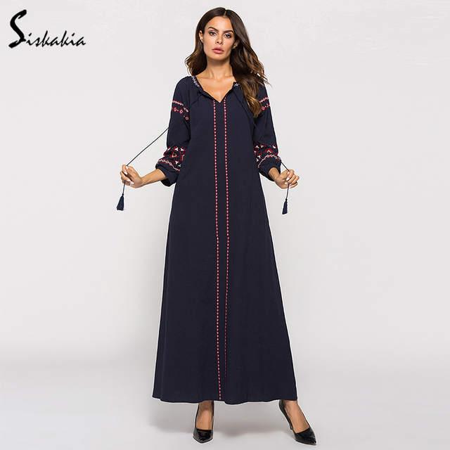 3a386cdfc3dc0 Siskakia Women Dresses Fall 2018 maxi long dress Vintage ethnic Embroidery  Autumn dress Urban casual tassel drawstring Female