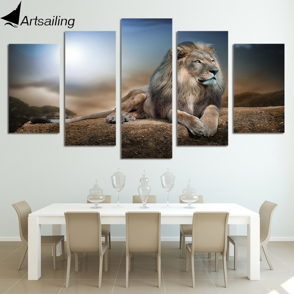 HD Printed Animals Lion Group Painting Canvas Print room decor print poster picture canvas Free shipping