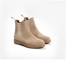 2017 New Arrival Casual Men Flat Boots Pure Color Apricot And Deep Grey Men Boat Shoes Fashion Chelsea Ankle Boots Hot Selling