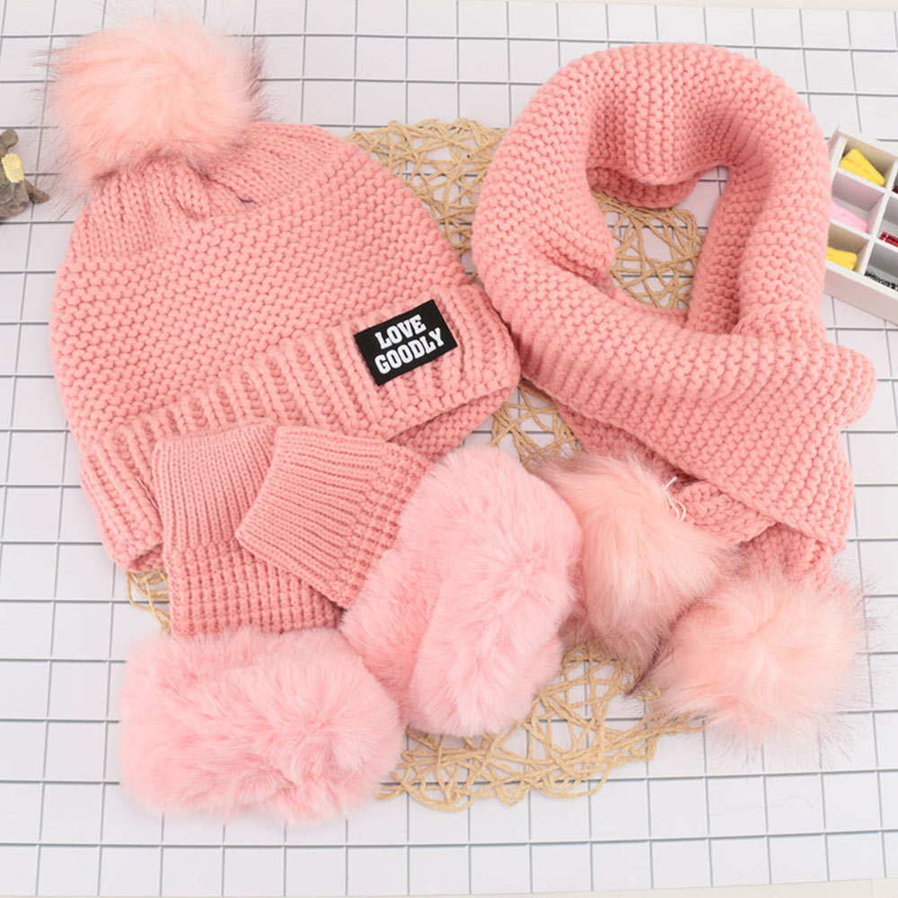 1 Set Female Winter Wool Knit Warm Hat +collar Gloves Sets Plus Padded Earmuffs Cycling Beanies Scarf Glove Suits Girls Cap