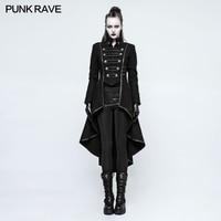New Punk Rave Rock Military Uniform High collar Long Coat Jacket plus size Black motorcycle casual ladies outwear Y786