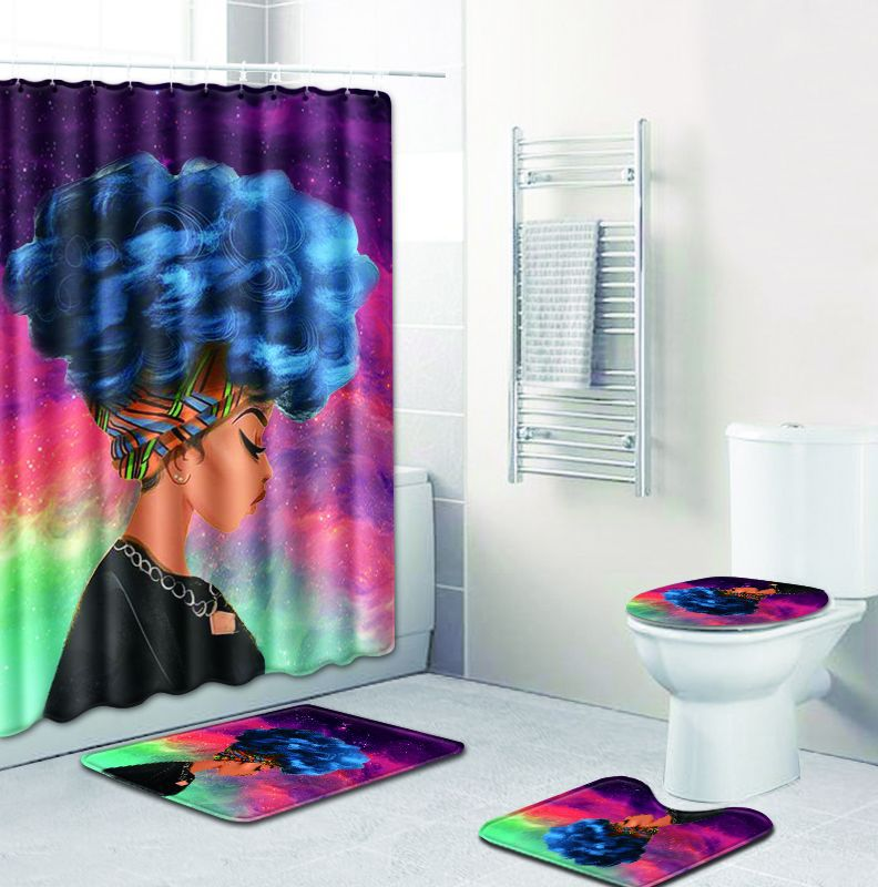 Super Details About Colorful African Queen Bathroom Shower Curtain Toilet Seat Cover Rug Set Andrewgaddart Wooden Chair Designs For Living Room Andrewgaddartcom