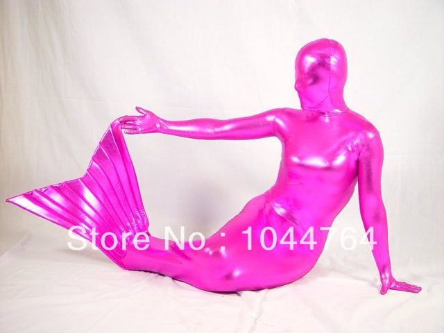 Shiny Pink  Mermaid costume Fullbody Zentai Suit Elasticity Catsuit Performance Costumes Can Custom Made Free Shipping