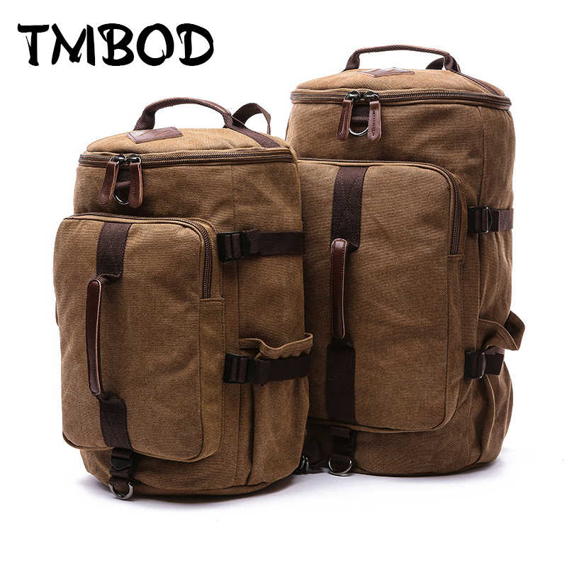 New 2019 Men Barrel-shaped Backpack For Male 2 size Canvas Travel Bag Multifunctional Causal Tote Shoulder Bags Bolsa an687