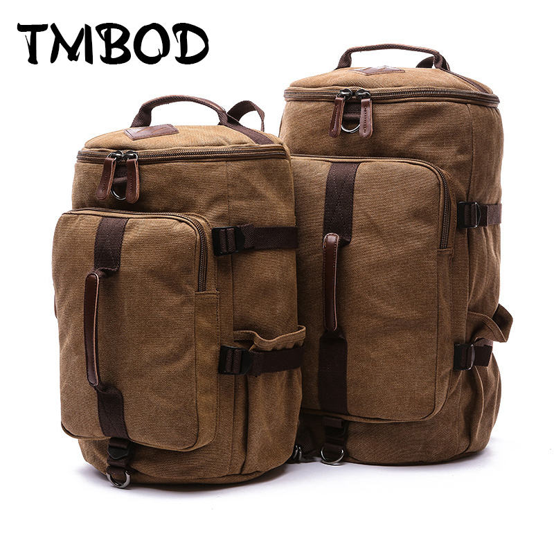 New 2017 Men Barrel-shaped Backpack For Male 2 size Canvas Travel Bag Multifunctional Causal Tote Shoulder Bags Bolsa an687 aosbos fashion portable insulated canvas lunch bag thermal food picnic lunch bags for women kids men cooler lunch box bag tote