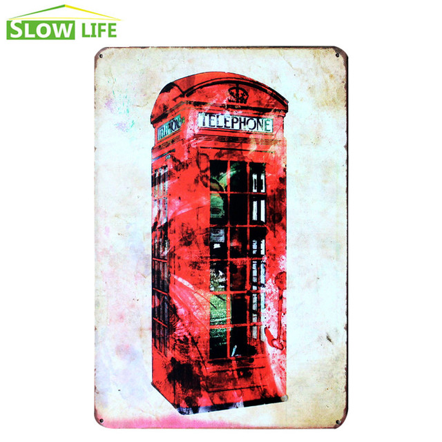London Red Telephone Box Metal Tin Sign Wall Decor Tin Sign Vintage ...