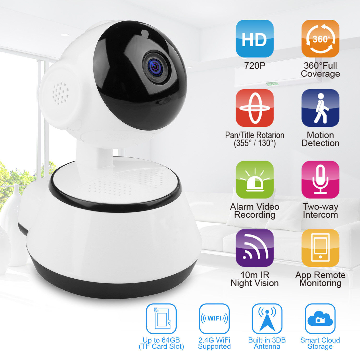 Baby Monitor Home Security WiFi IP Camera 720P HD Wireless Smart Baby Camera Audio Video Record Surveillance Camera Wholesale image