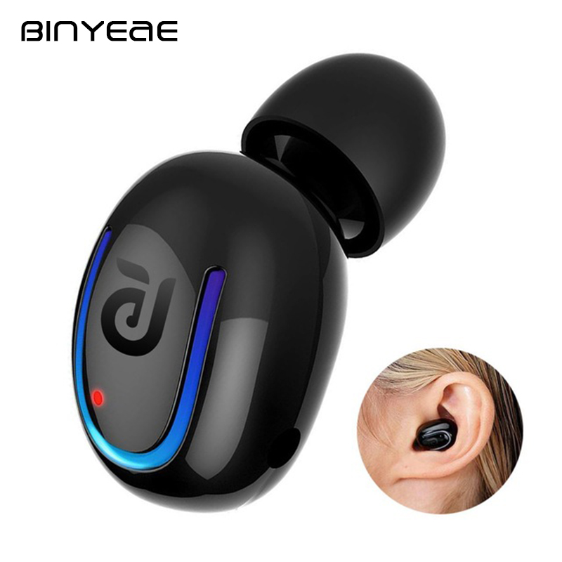 BINYEAE Stereo Blutooth Headset Invisible Mini Sport Earbuds Handfree Wireless Earphones with Mic for Iphone Huawei MP3