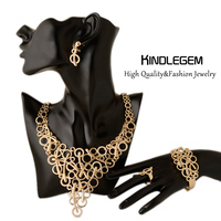 Newest African Fashion Costume Jewelry Set Crystal Necklace Earrings Bracelet Ring Dubai Gold Color Modern Geometry