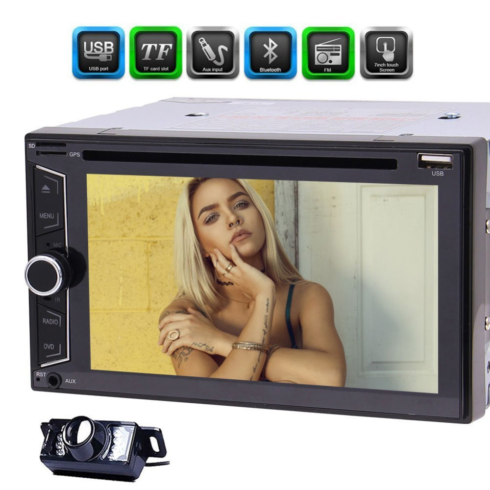 Backup Camera+EinCar 2 DIN Headunit Car Radio Stereo DVD CD Player+Bluetooth Autoradio Handsfree Call FM AM RDS Radio Receiver joyous j 2611mx 7 touch screen double din car dvd player w gps ipod bluetooth fm am radio rds