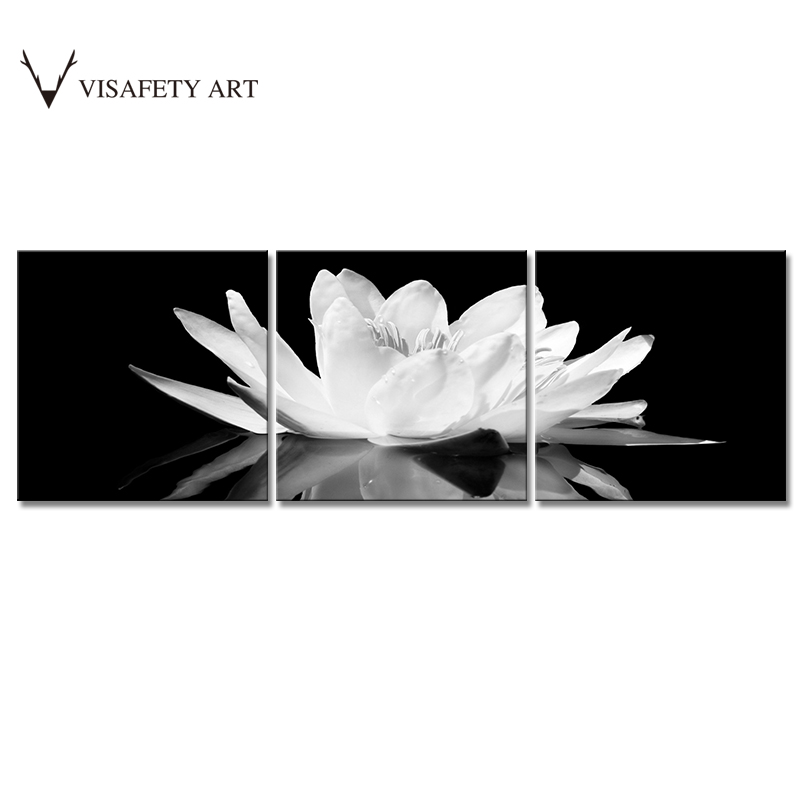 3 pcsset canvas print flower white lotus in black wall art picture 3 pcsset canvas print flower white lotus in black wall art picture with frame modern wall paintings in painting calligraphy from home garden on mightylinksfo