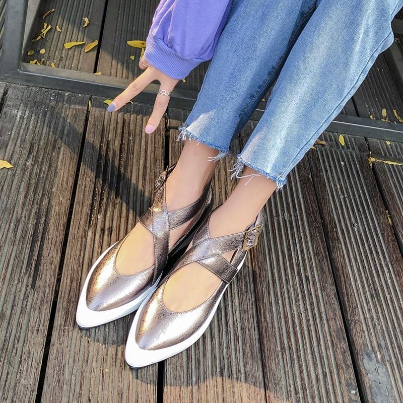 Zvq 여성 발목 버클 플랫 여성 지적 발가락 정품 가죽 얕은 봄 신발 여성 새로운 스타일 웨지 캐주얼 신발 2019-에서여성용 플랫부터 신발 의  그룹 3