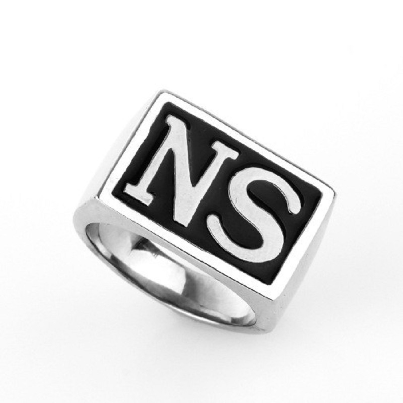 Rock Roll Black Silver Tone Carved Letter 316L Stainless Steel Boys Mens Ring