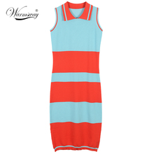 Women Summer Striped Knitted Long Dress casual Sleeveless Polo Shirt Dress Casual Slim Bodycon dresses WS-053