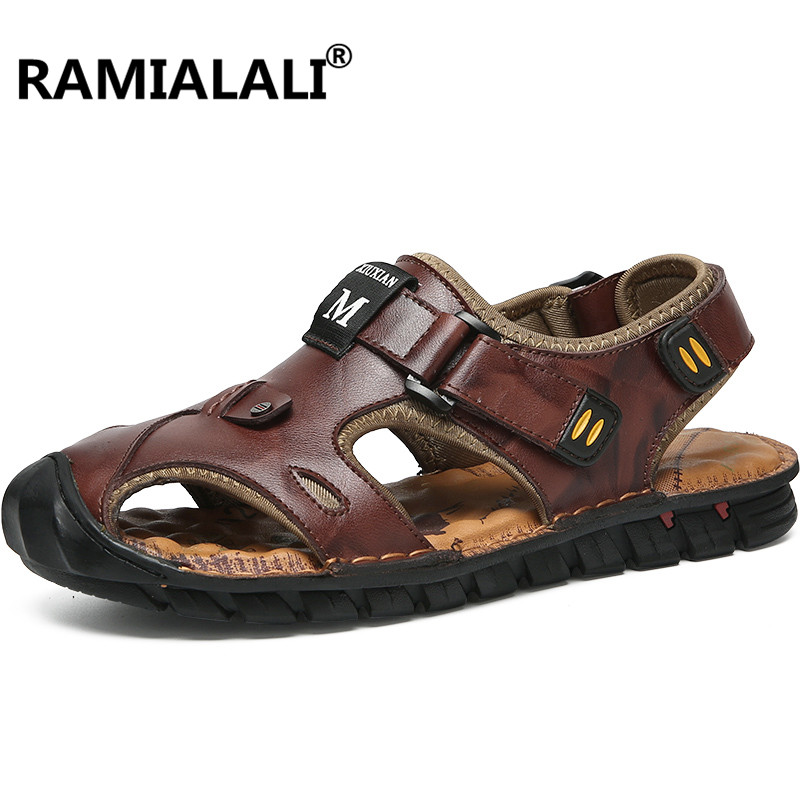 24fa3e9d9fa7bc Men Genuine Leather Sandals Quality Comfortable Hollow Soft Breathable Non  slip Casual Outdoors Beach Shoes Fashion Slippers-in Men's Sandals from  Shoes on ...