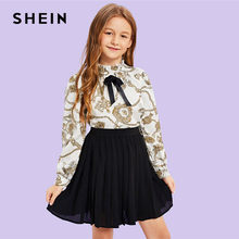 d9b43c6f49 SHEIN Matching Family Outfits Girls Bow Mock Neck Mixed Print Blouse Top  Spring Girls Vintage Ruffle Stand Collar Blouses